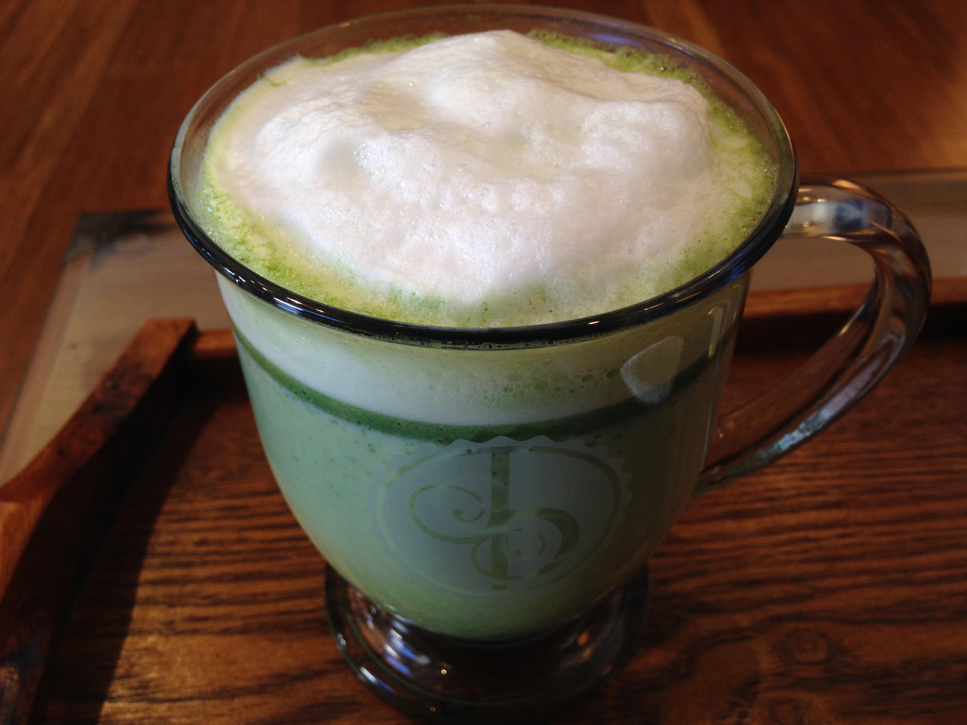Macha tea latte at Jasmine Pearl Tea Company, photo by Carrie Uffindell