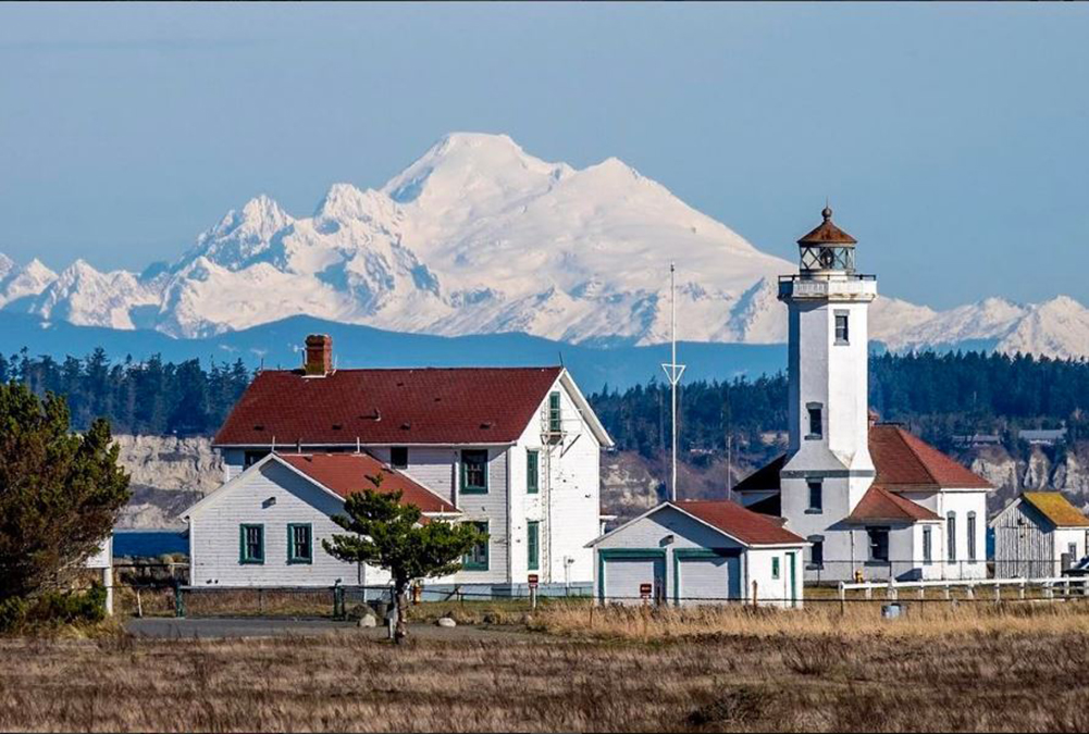 Point Wilson Lighthouse with Mount Baker in the backdrop