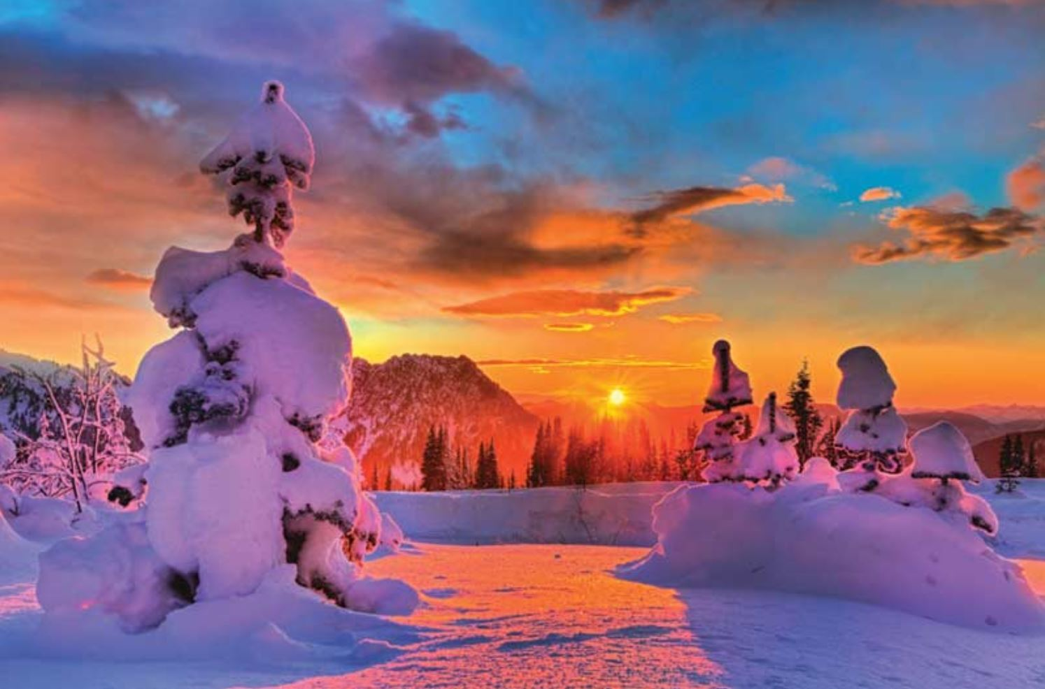 A Fire Sunset On Mount Rainier – Another Reason to Love Northwest Winters