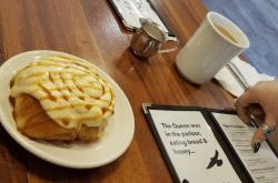 salted caramel cinnamon roll bread honey cafe portland oregon brunch
