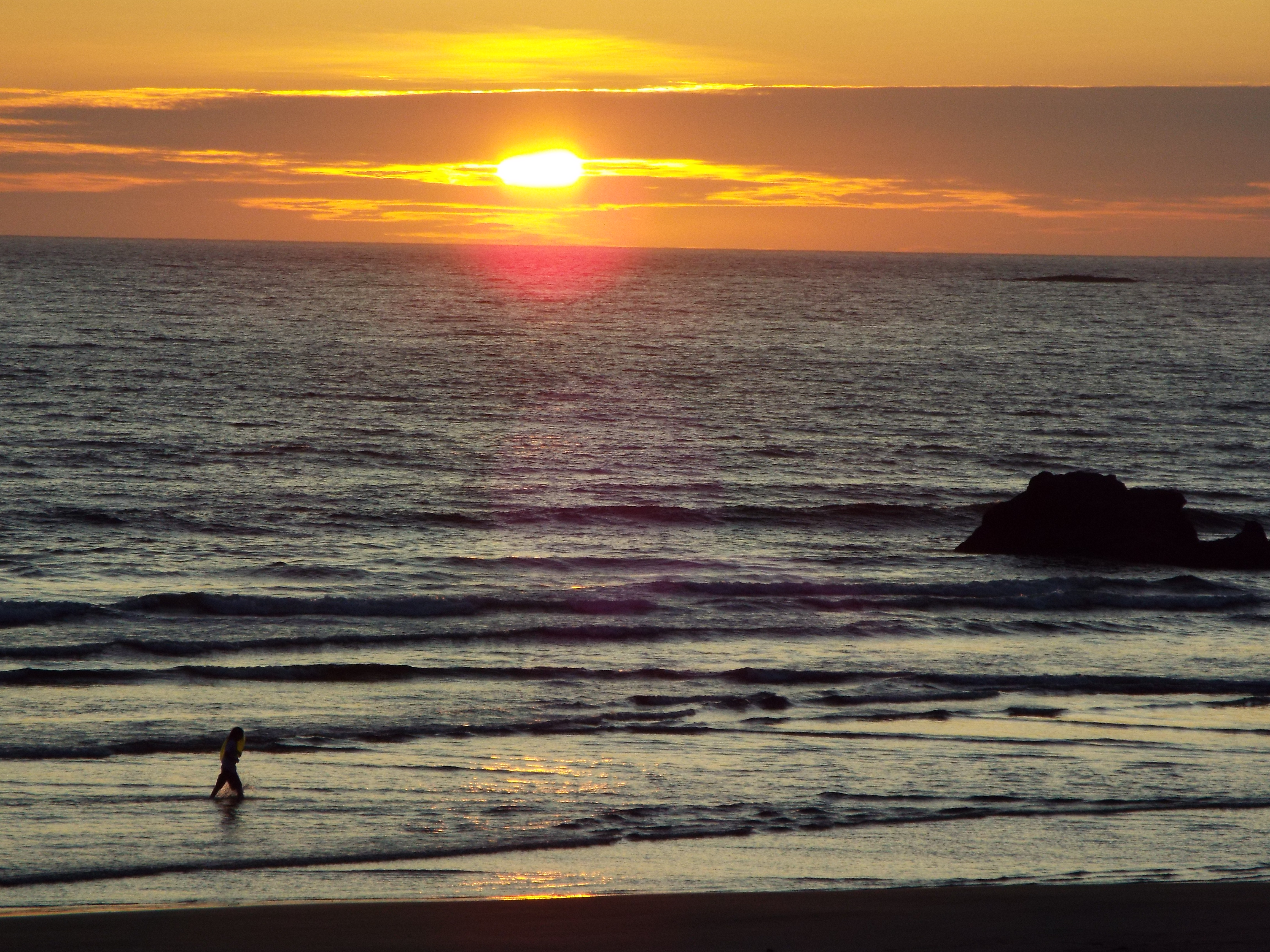 A summer sunset at Arcadia Beach along the Oregon coastline