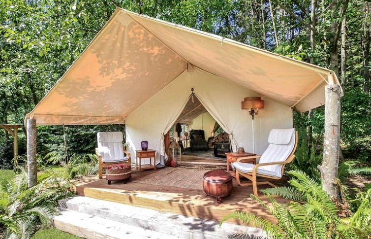 glamping on whidby island washington at greenbank wa