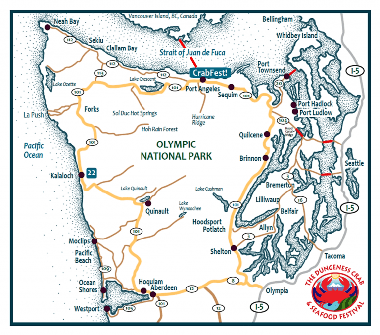 map of Olympic Peninsula for Port Angeles Crab Fest