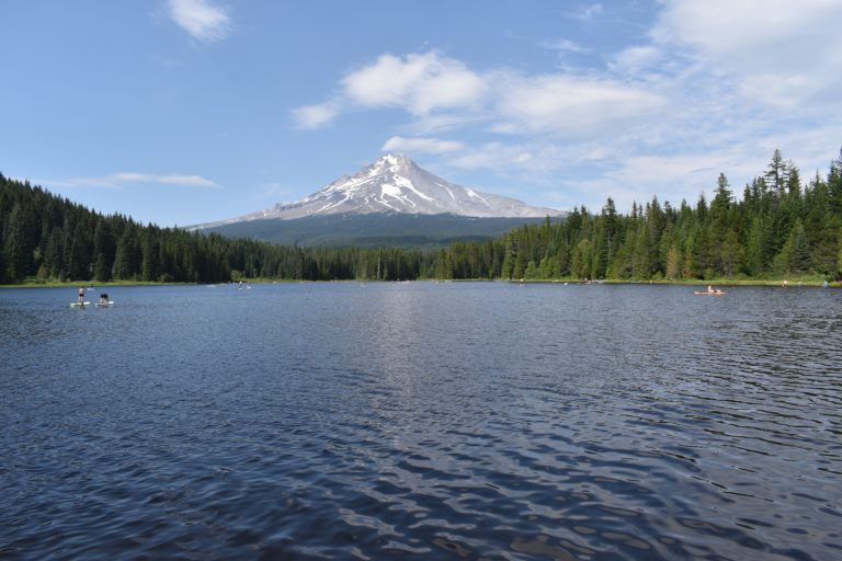 view of Mt. Hood from Trillium Lake in Oregon