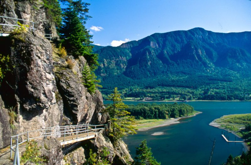 view from beacon rock overlooking the columbia river gorge